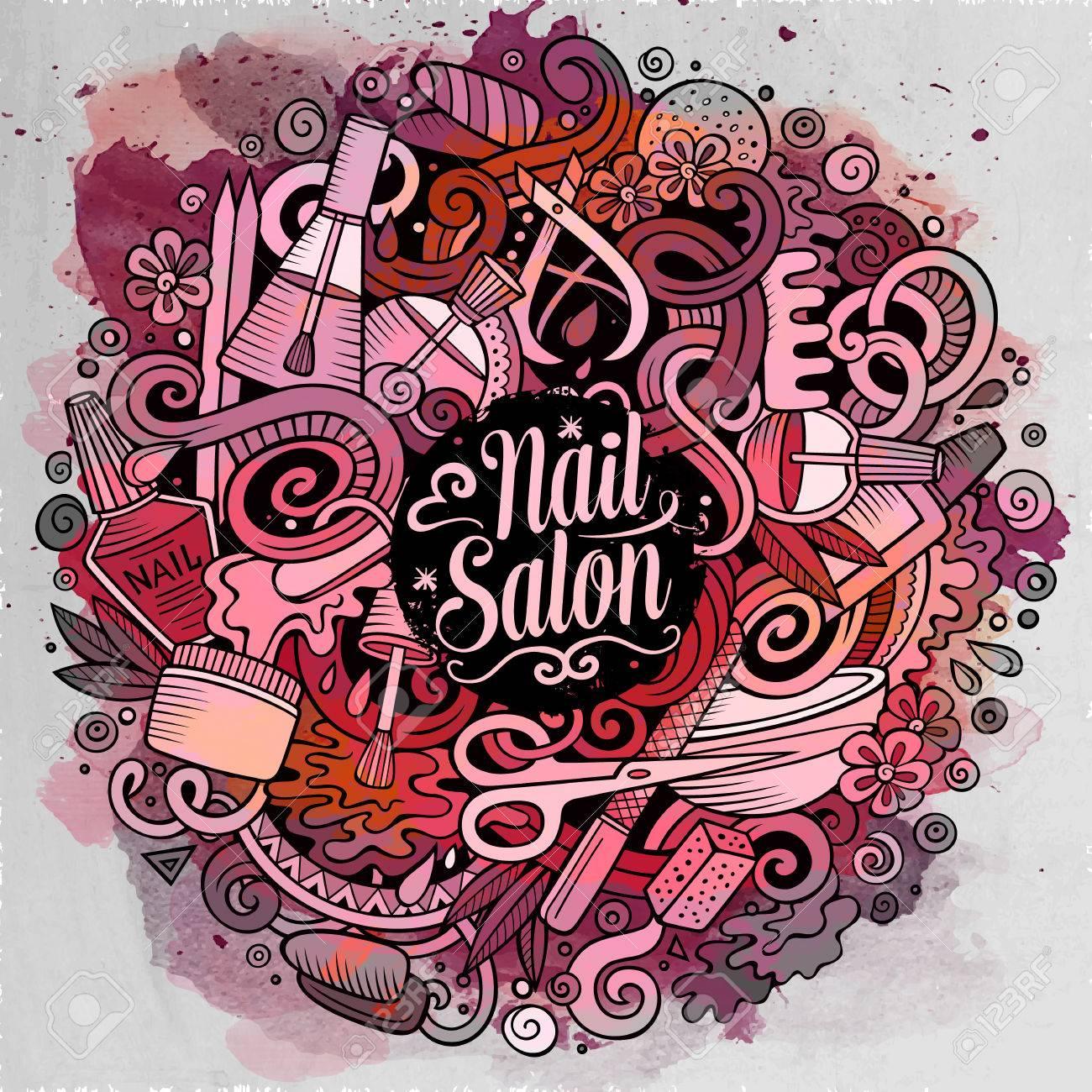 Cartoon Cute Doodles Drawn Nail Salon Illustration. Watercolour ...