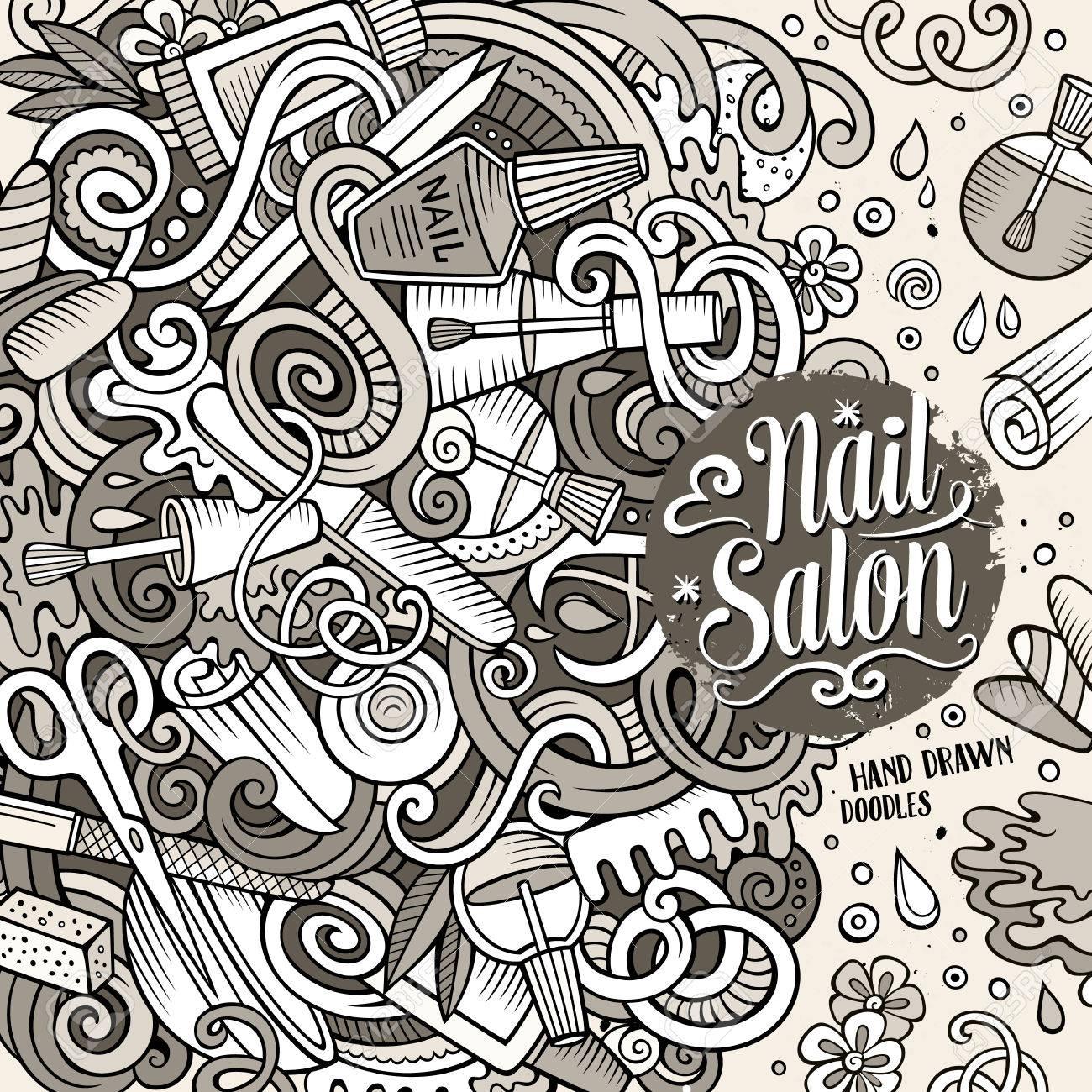 Cartoon Cute Doodles Drawn Nail Salon Frame Design. Sketchy Detailed ...