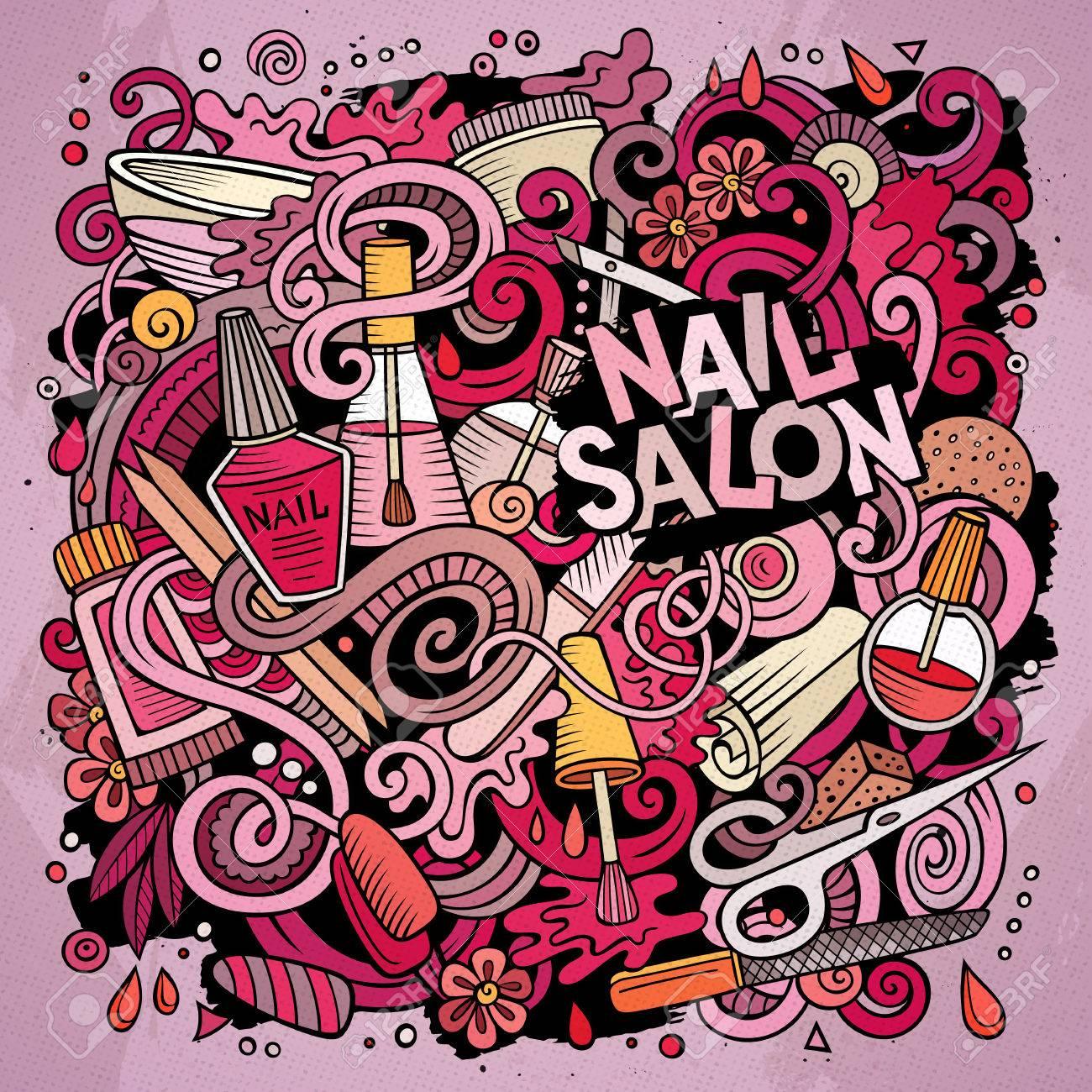 Cartoon Cute Doodles Hand Drawn Nail Salon Illustration. Colorful ...