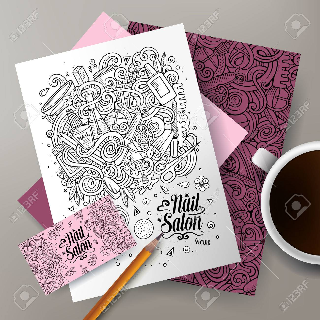 Cartoon Cute Line Art Vector Hand Drawn Doodles Nail Salon Corporate ...