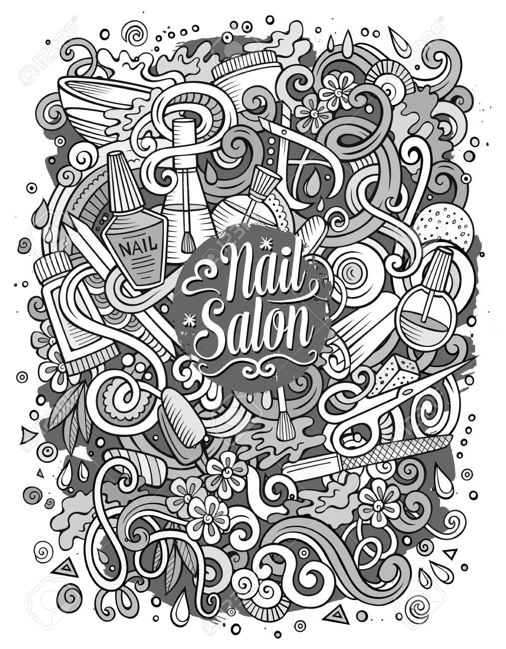 Cartoon Cute Doodles Hand Drawn Nail Salon Illustration. Sketchy ...
