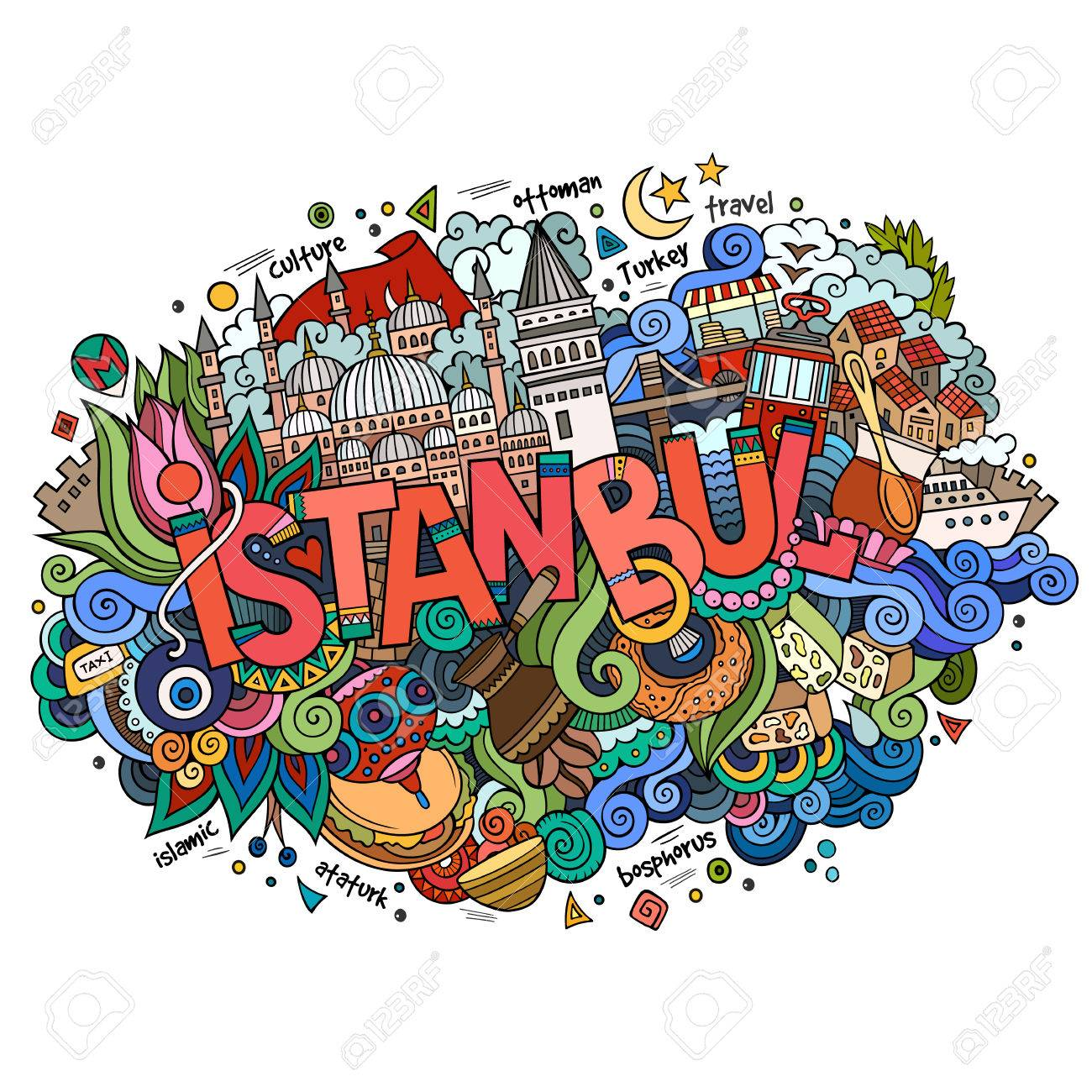 Istanbul city hand lettering and doodles elements - 68551918