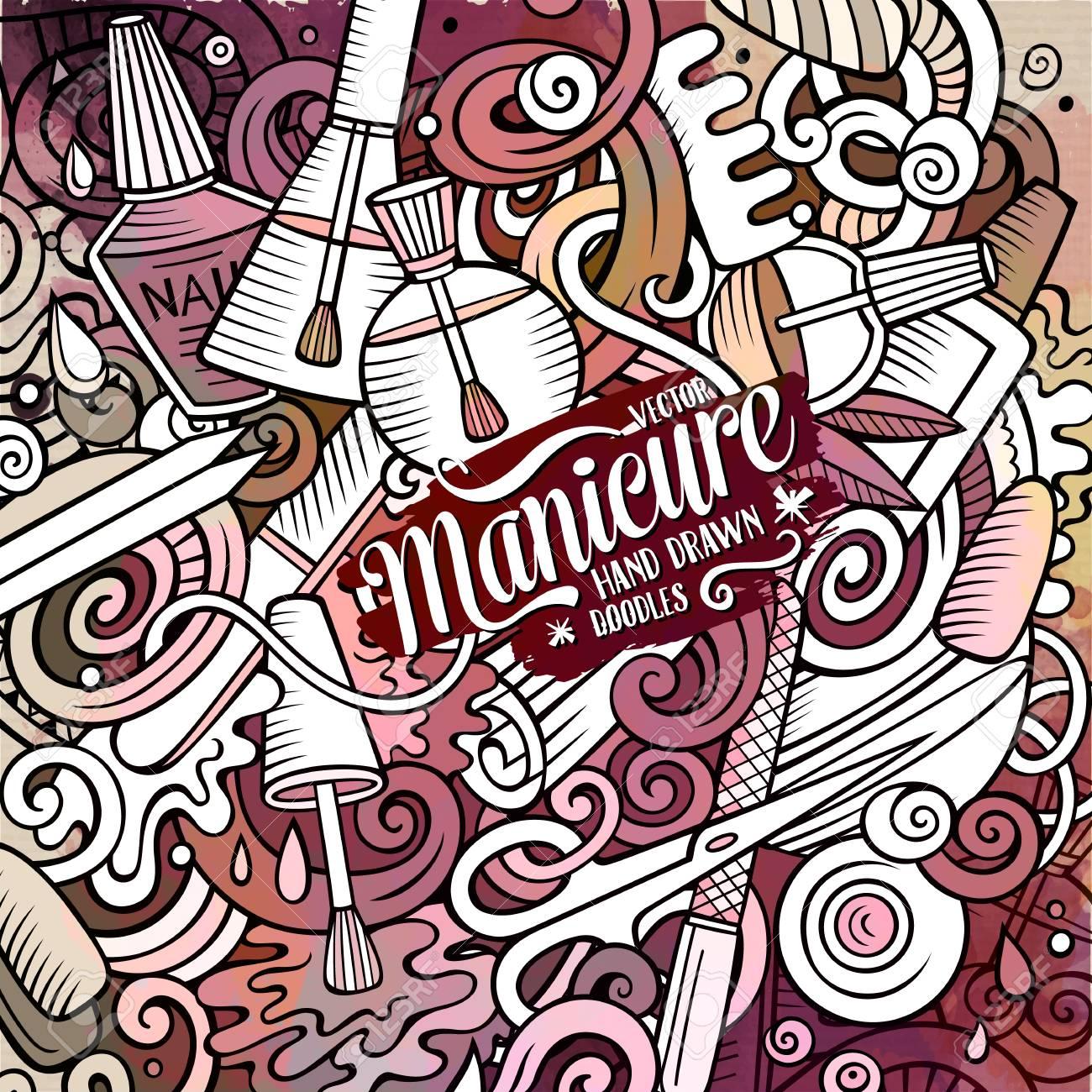 Cartoon Cute Doodles Hand Drawn Nail Salon Illustration. Watercolour ...