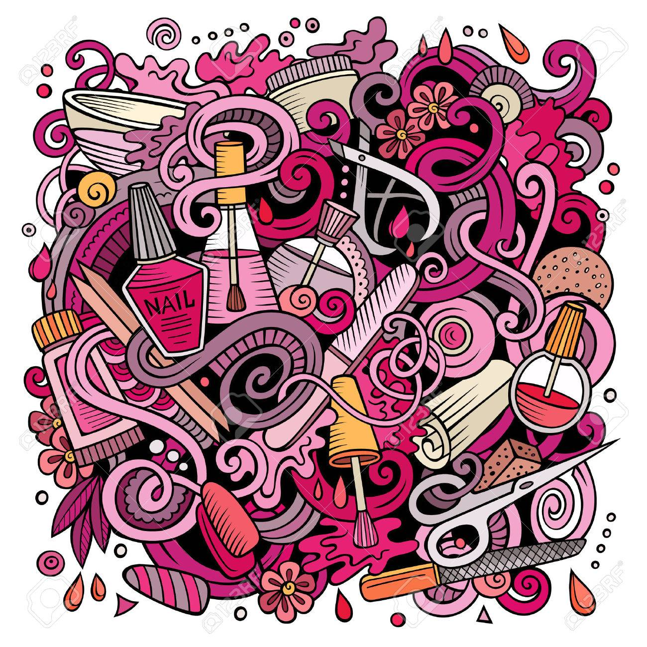 Cartoon doodles Nail salon illustration - 69486862