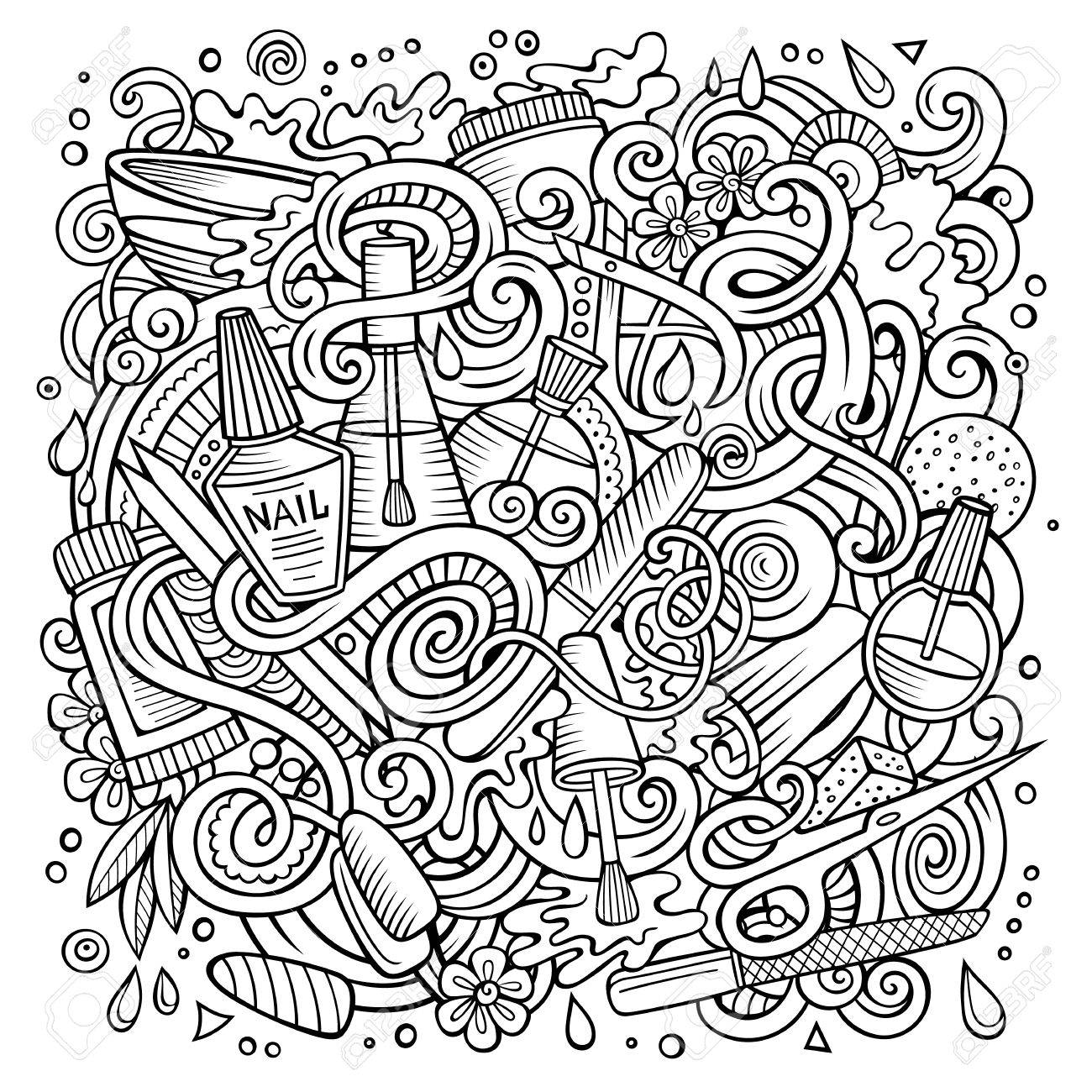 Cartoon Doodles Nail Salon Illustration Royalty Free Cliparts ...