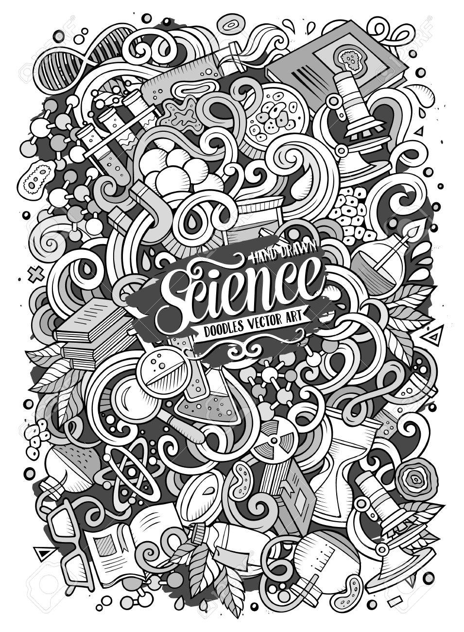 かわいい落書き科学イラストを漫画しますのイラスト素材ベクタ