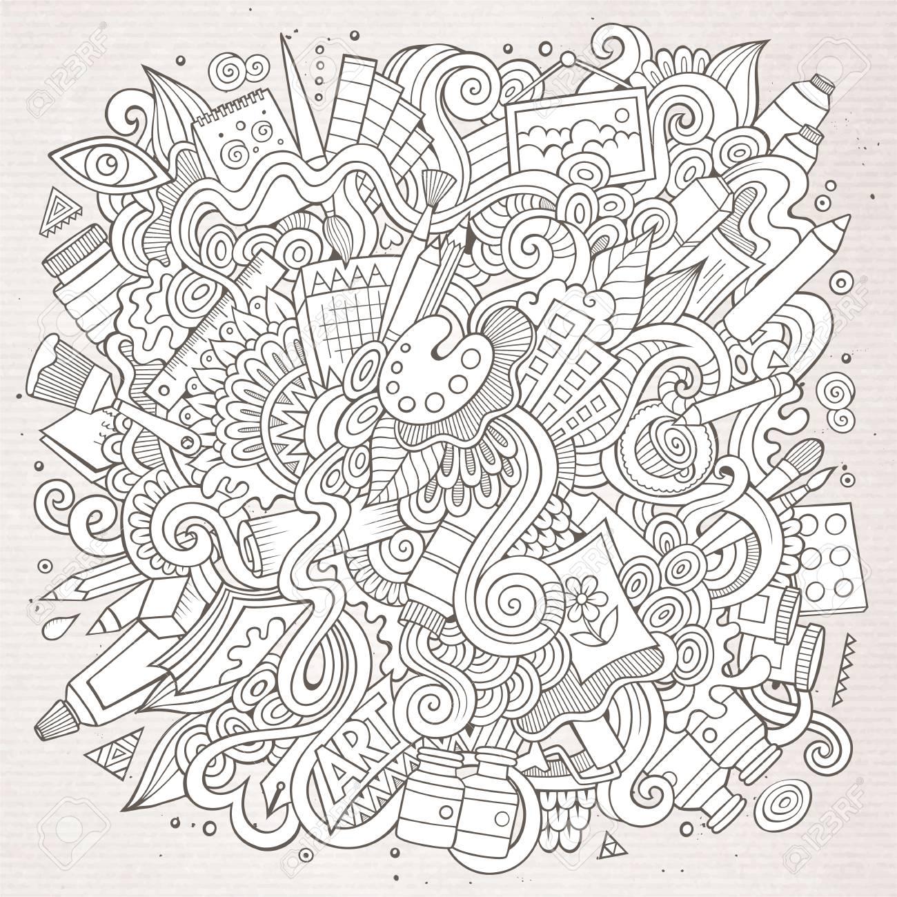 漫画かわいい落書きが描かれた芸術的なイラストを手しますのイラスト