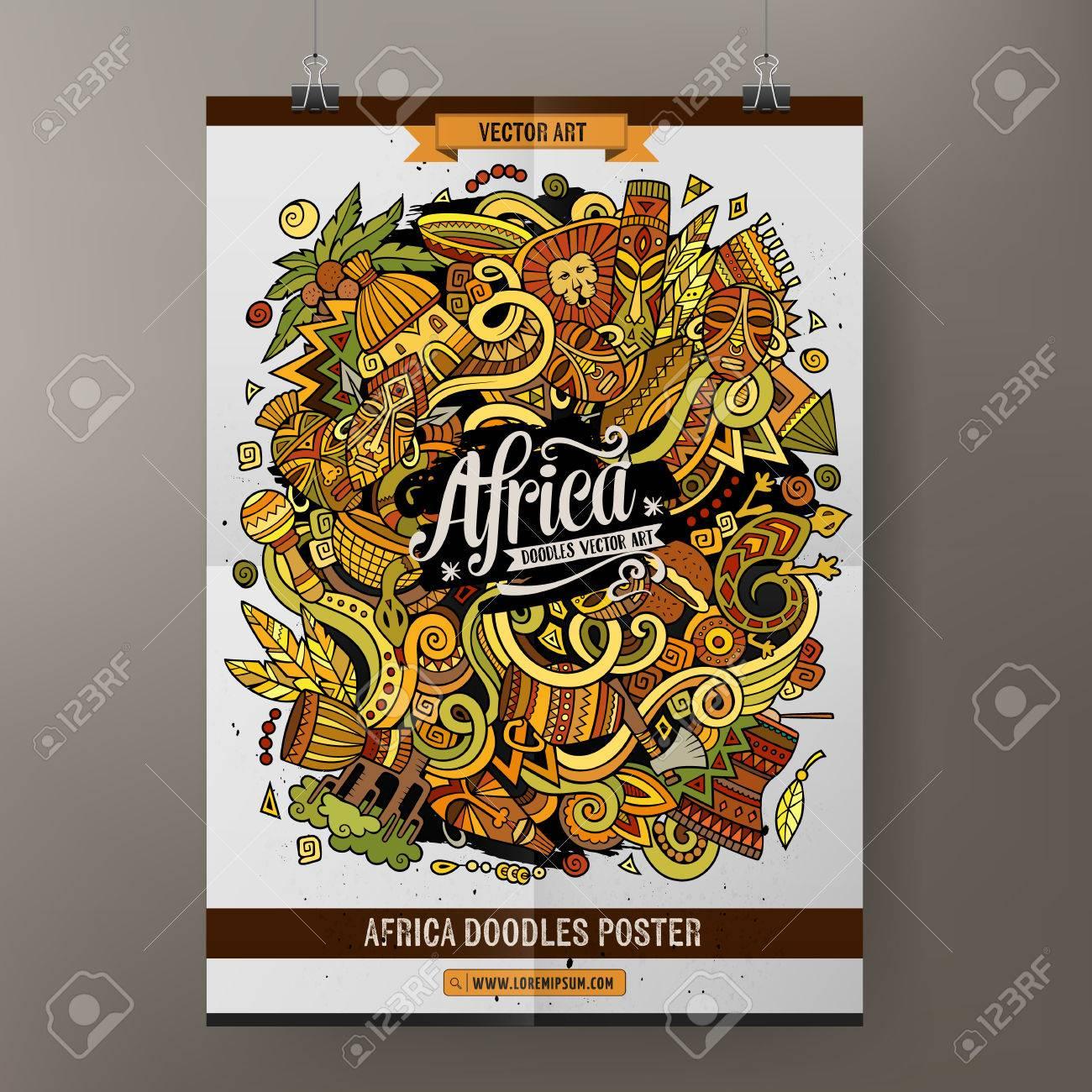 La Historieta Doodles África Plantilla Del Cartel Ilustraciones ...