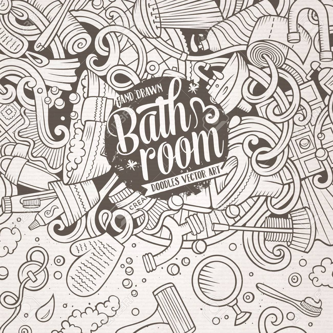 Cartoon Cute Doodles Hand Drawn Bathroom Frame Design Line Art Detailed With Lots Of