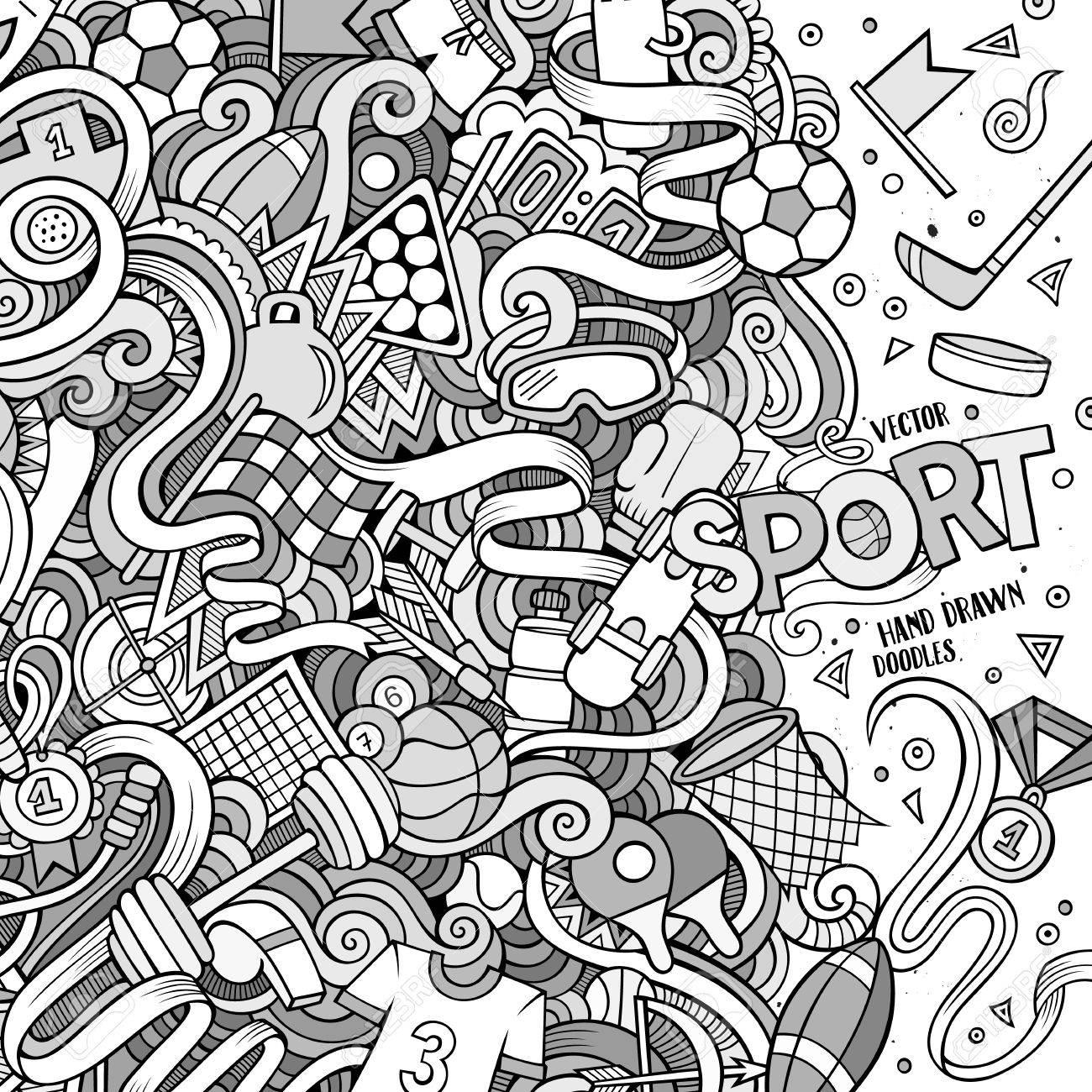 Dessin Anime Mignon Doodles Dessines A La Main Sport Cadre Design