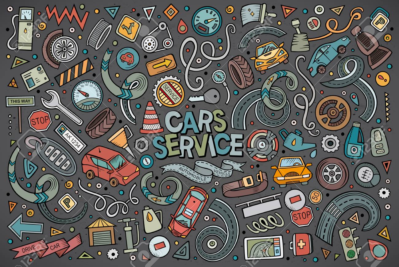 Vector cartoon set of Automobile objects - 78092207