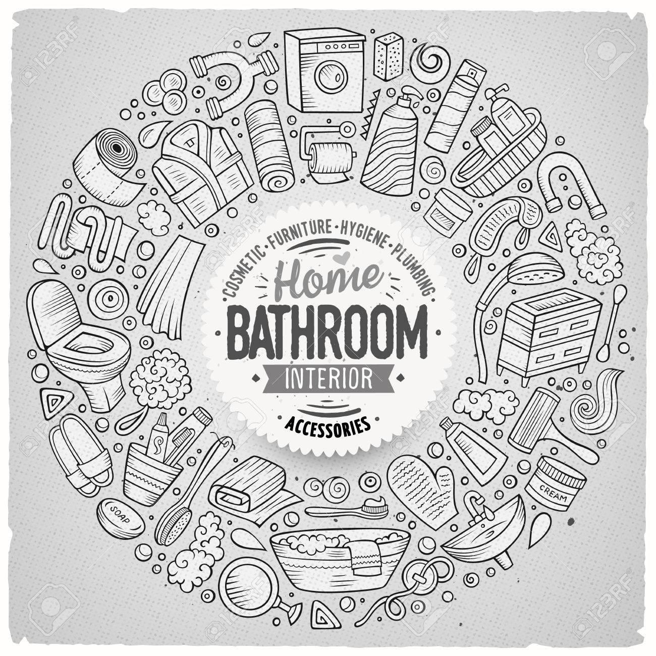Dessin Salle De Bain ensemble vectoriel d'objets de doodle de dessin animé de salle de bain