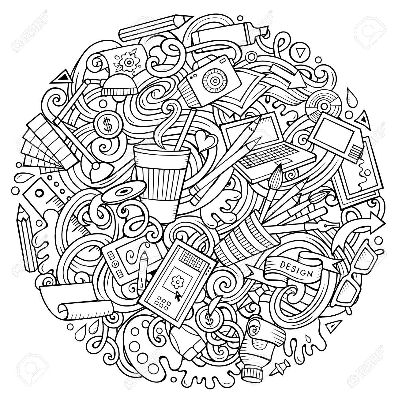 かわいい落書きデザイン イラストを漫画しますのイラスト素材ベクタ
