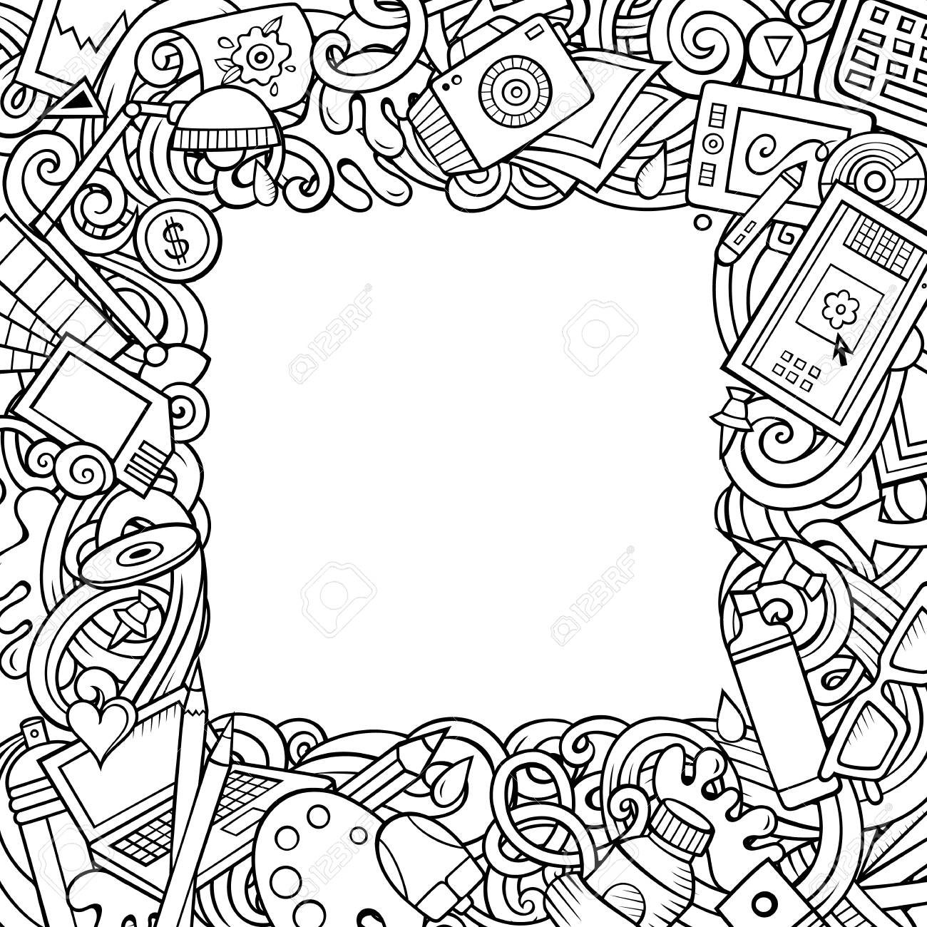 Vector De Dibujos Animados Garabatos Marco De Diseñador ...