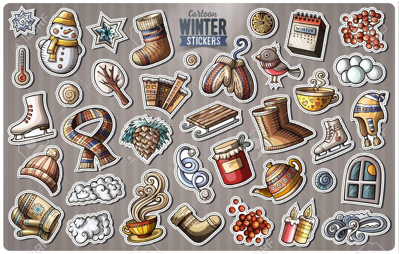 set of winter season cartoon stickers royalty free cliparts vectors
