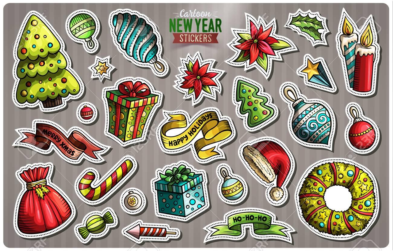 Set of Happy New Year cartoon stickers - 90850850