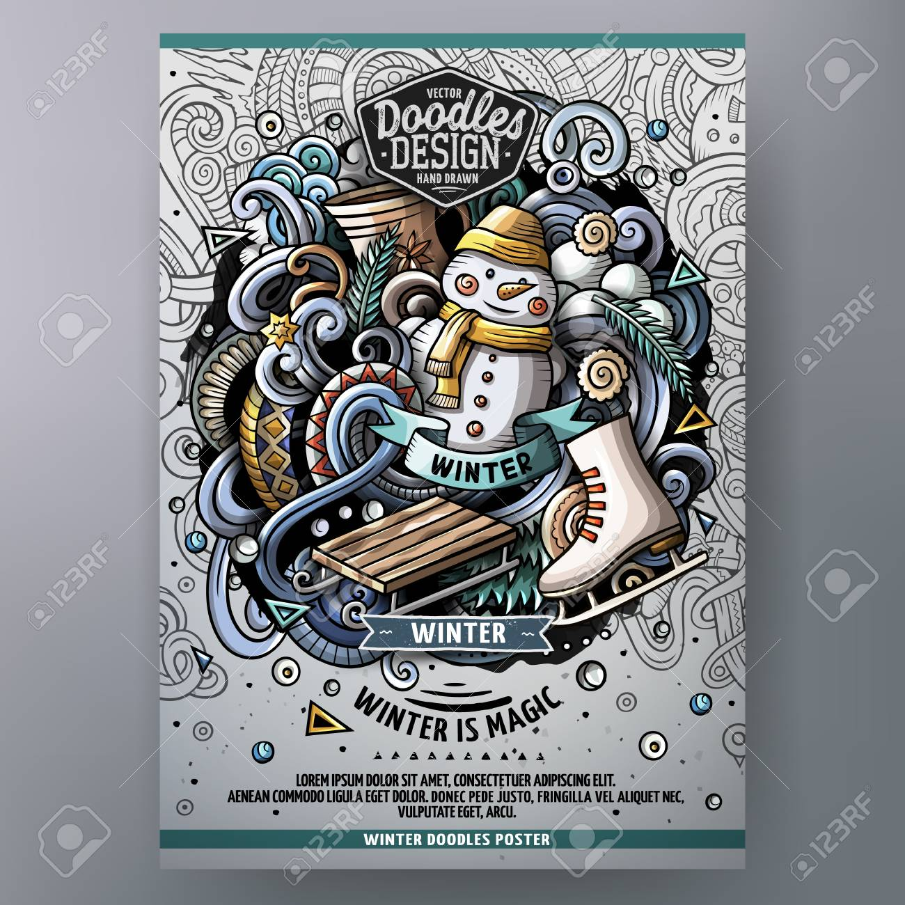 Cartoon hand drawn doodles Winter poster design template. Very detailed, with lots of separate objects illustration. Funny vector artwork. - 90846135