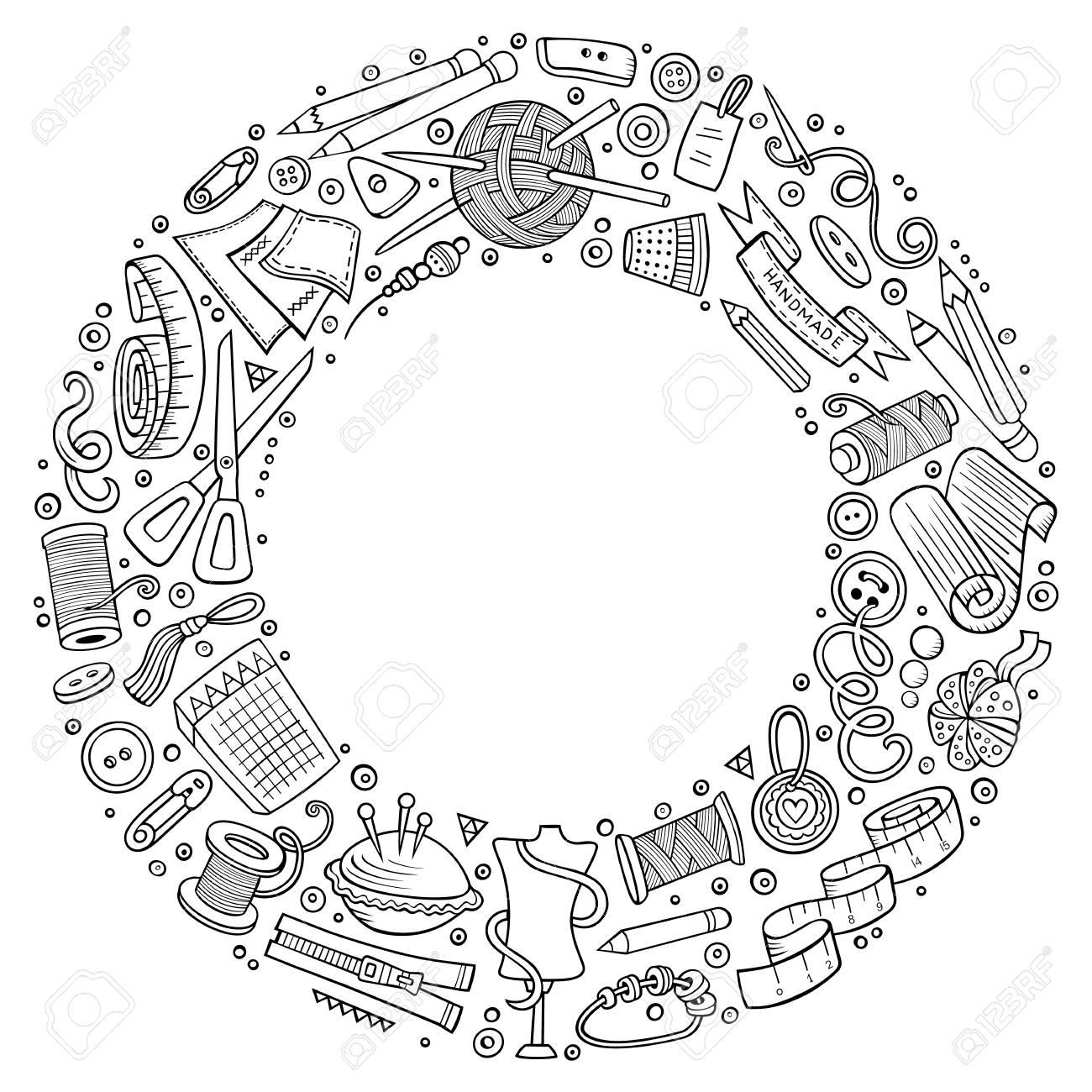 Set of handmade cartoon doodle objects, symbols and items. - 95462325