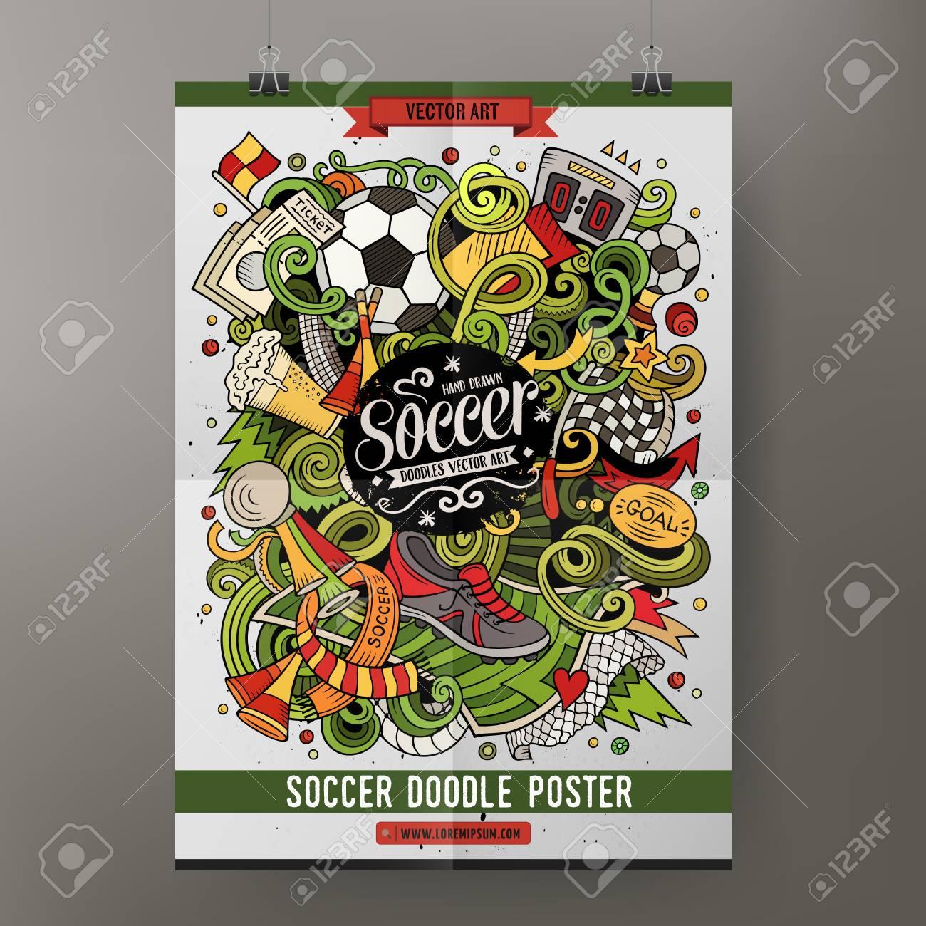 Cartoon Vector Hand Drawn Doodles Soccer Poster Template Stock