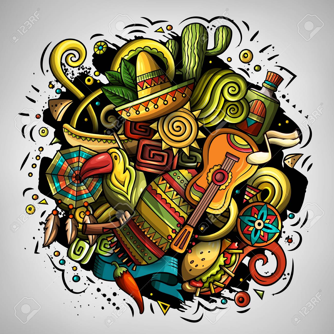 Cartoon vector doodles with Latin American theme illustration - 97580753