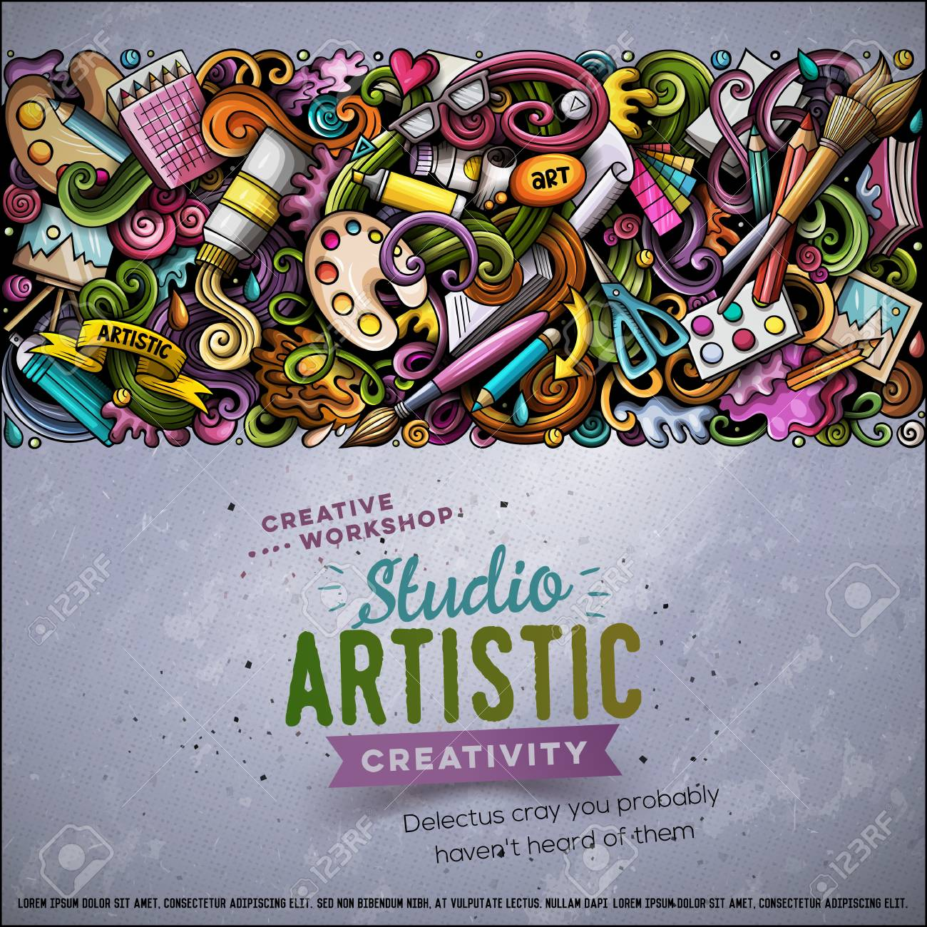 Cartoon vector doodles Art horizontal stripe card - 98251986