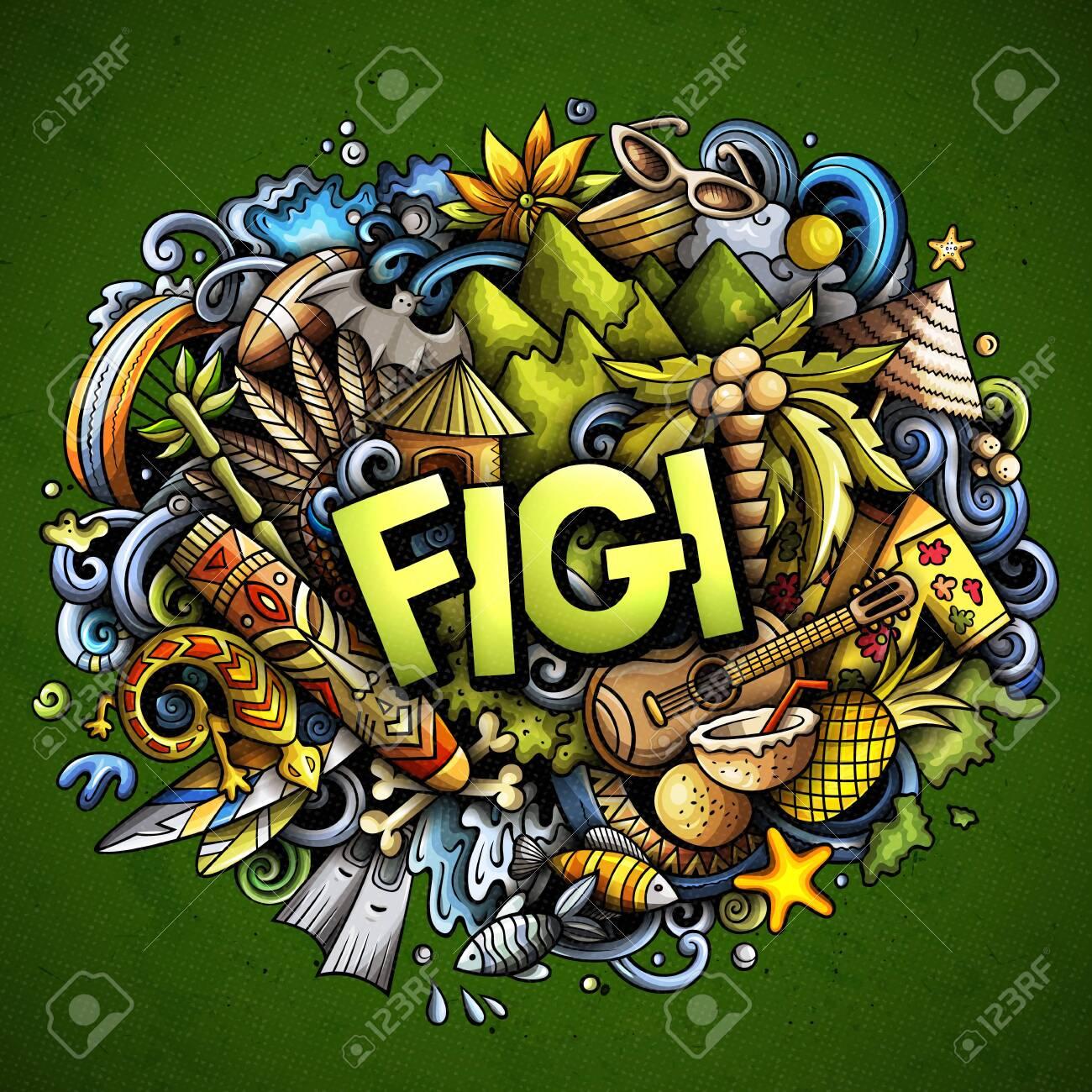 Figi hand drawn cartoon doodles illustration. Funny travel design. - 141514494