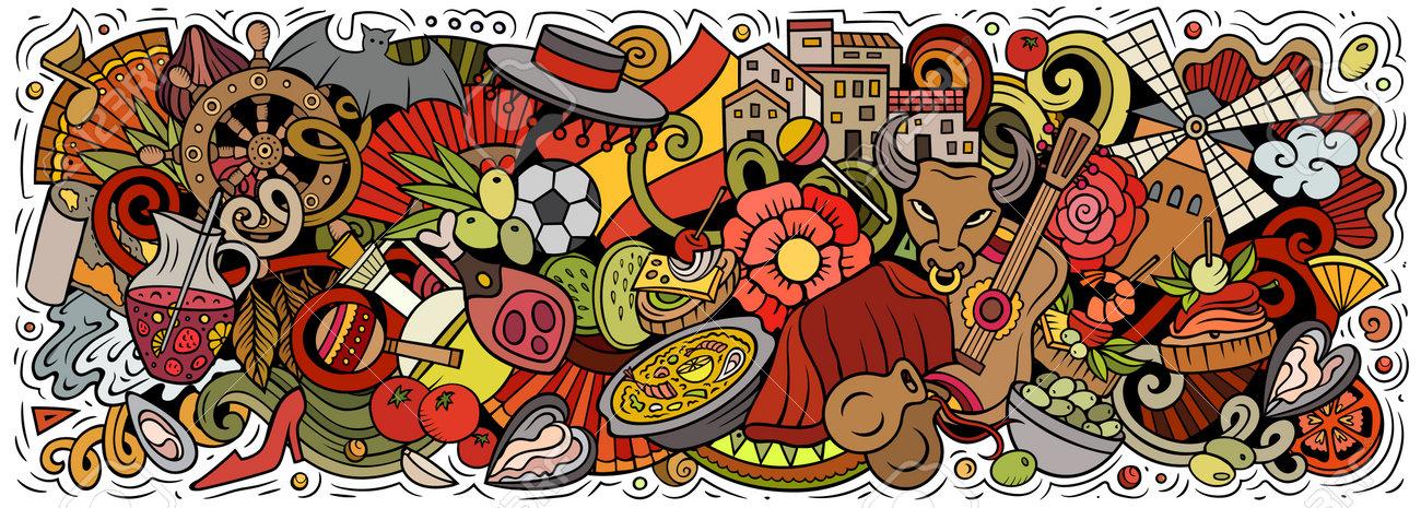 Spain hand drawn cartoon doodles illustration - 166760051