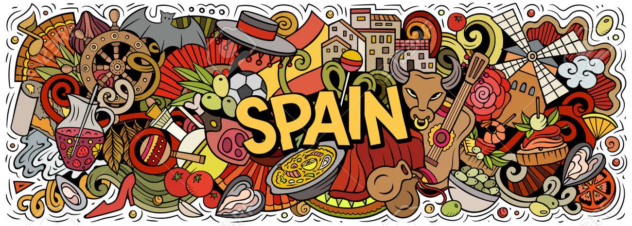 Spain hand drawn cartoon doodles illustration. - 166760052