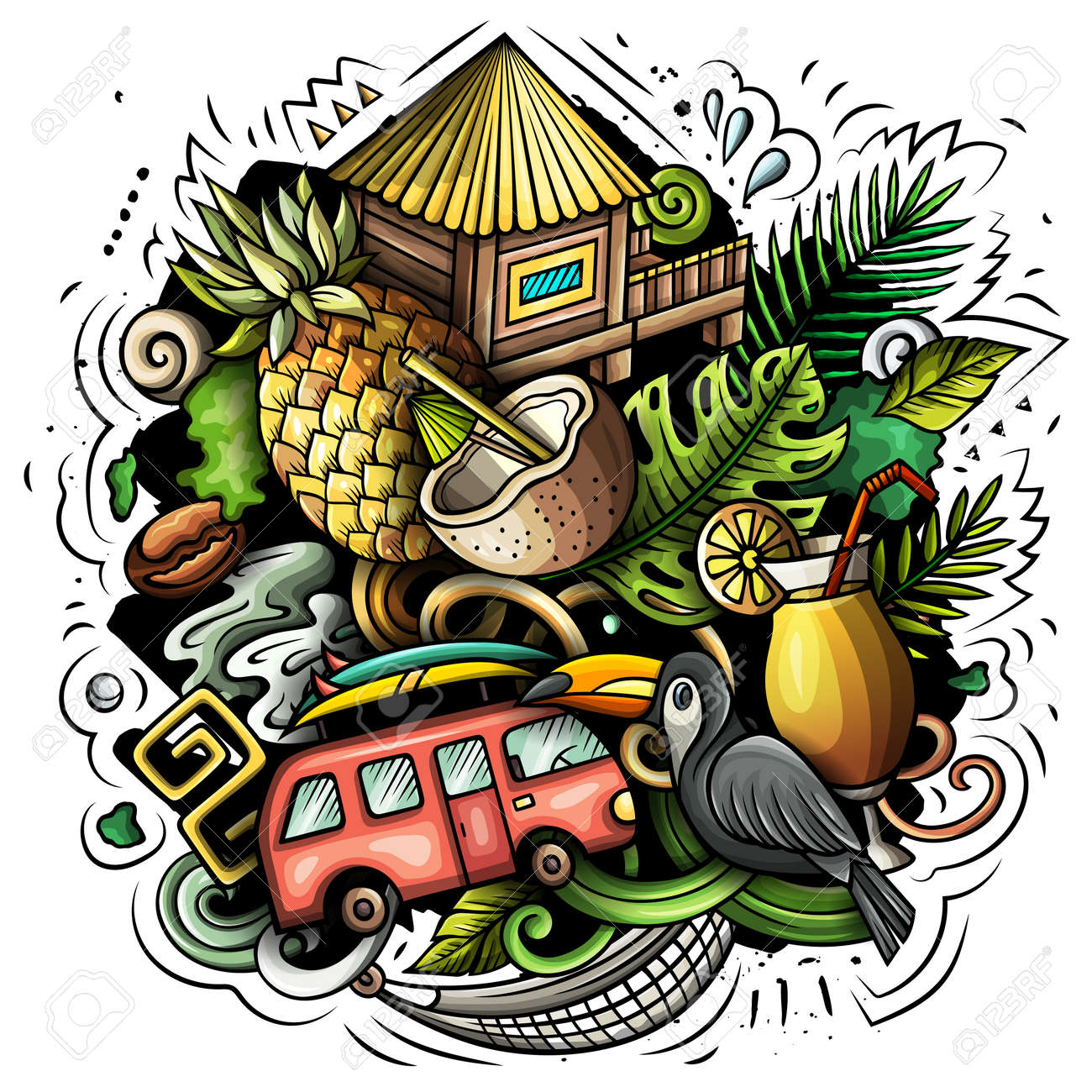Hawaii cartoon vector doodle design. Colorful detailed composition with lot of Hawaiian objects and symbols. All items are separate - 166419672