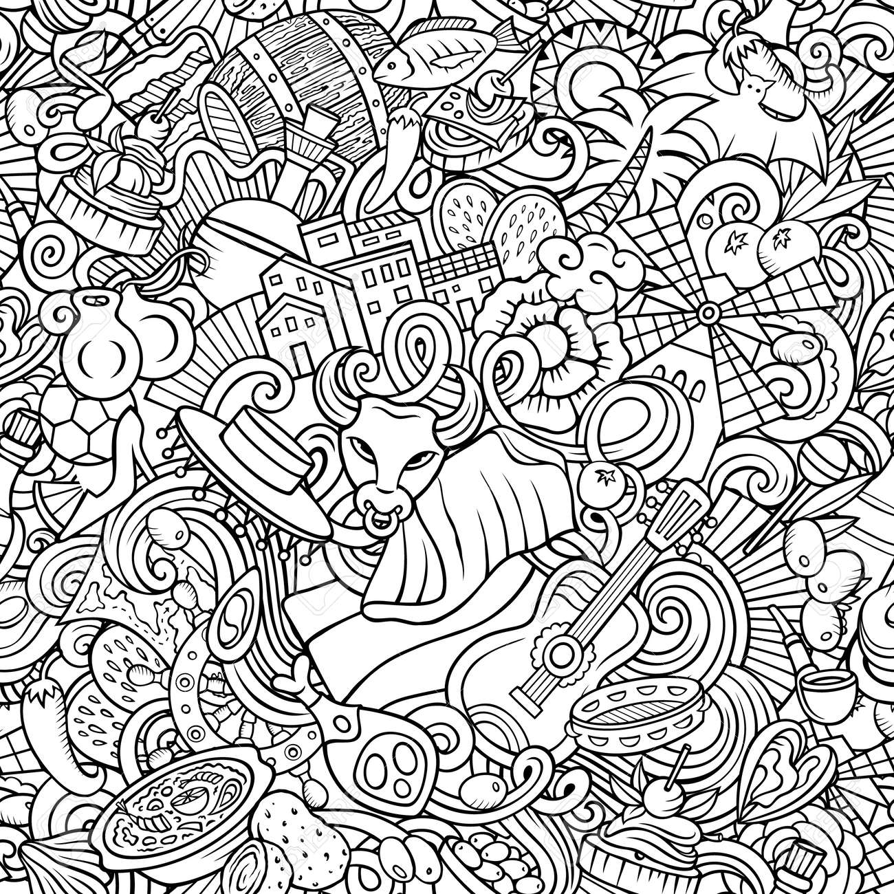 Cartoon doodles Spain seamless pattern. Backdrop with Spanish culture items - 167833194