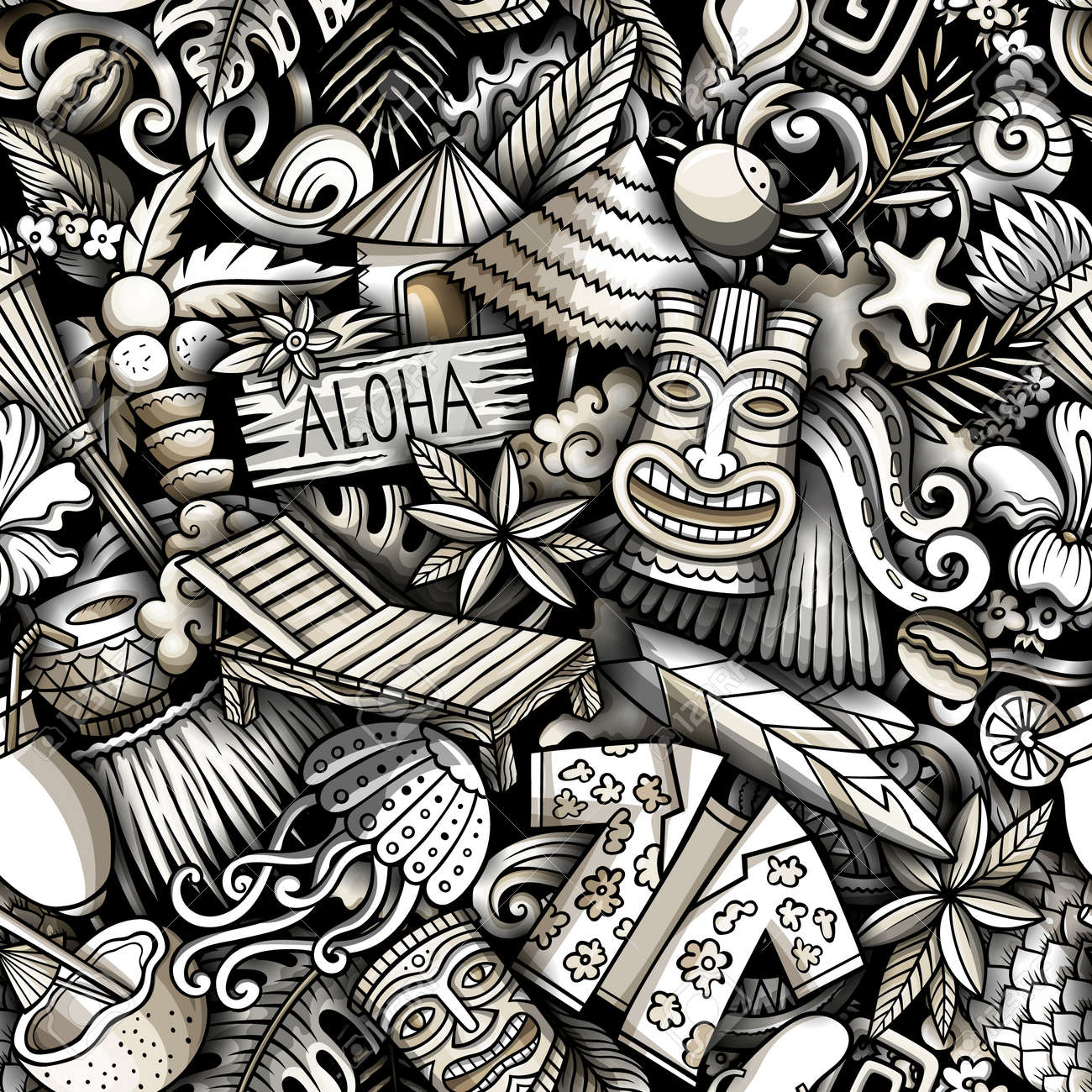Cartoon doodles Hawaii seamless pattern. Backdrop with Hawaiian culture symbols and items. Monochrome detailed, with lots of objects background for print on fabric, textile, phone cases, wrapping paper. - 167836390
