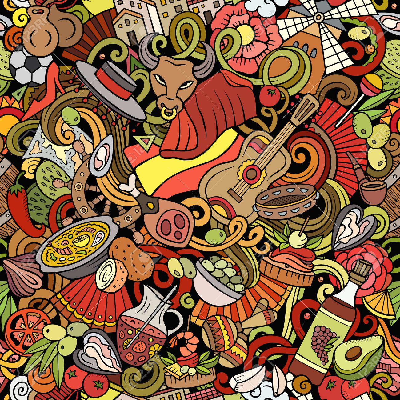 Cartoon doodles Spain seamless pattern. Backdrop with Spanish culture symbols and items. Colorful detailed, with lots of objects background for print on fabric, textile, phone cases, wrapping paper. - 167836514