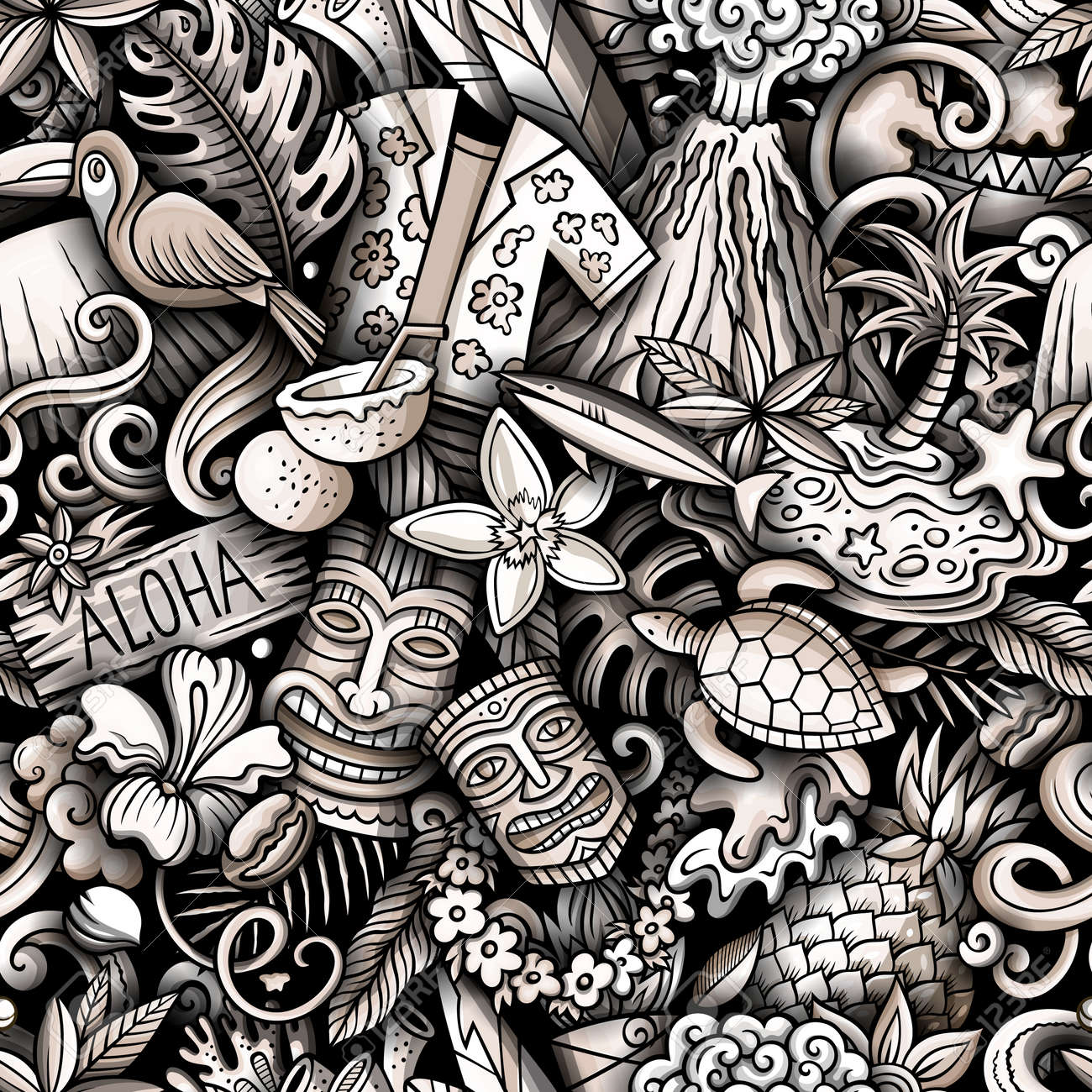 Cartoon doodles Hawaii seamless pattern. Backdrop with Hawaiian culture symbols and items. Monochrome detailed, with lots of objects background for print on fabric, textile, phone cases, wrapping paper. - 167836722