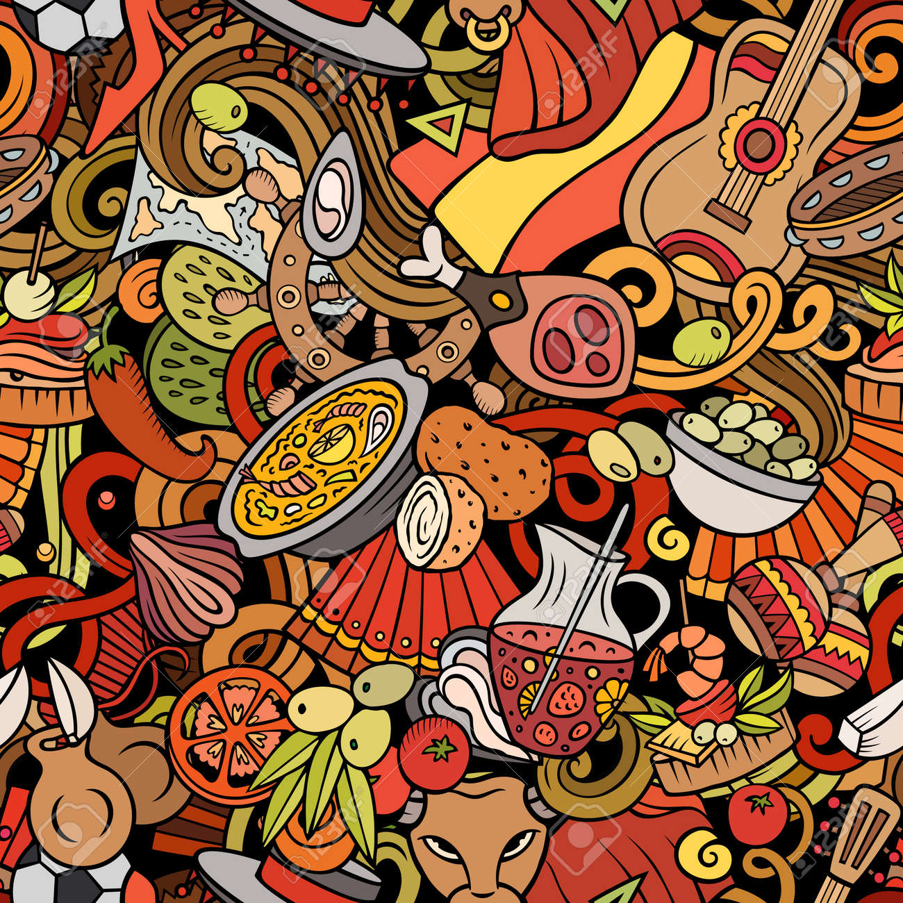 Cartoon doodles Spain seamless pattern. Backdrop with Spanish culture symbols and items. Colorful detailed, with lots of objects background for print on fabric, textile, phone cases, wrapping paper. - 168446730