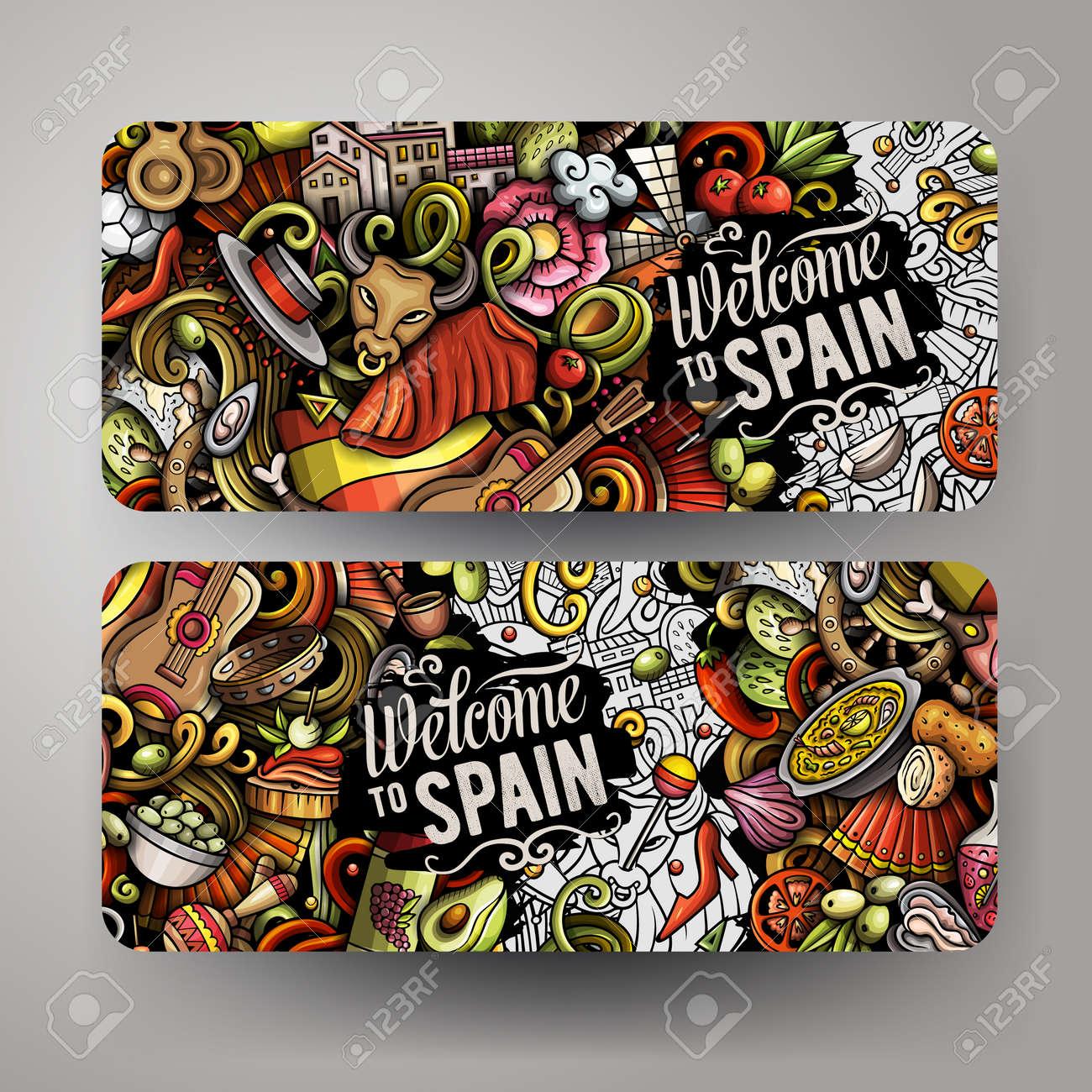 Cartoon cute doodles Spain horizontal banners set - 170368389
