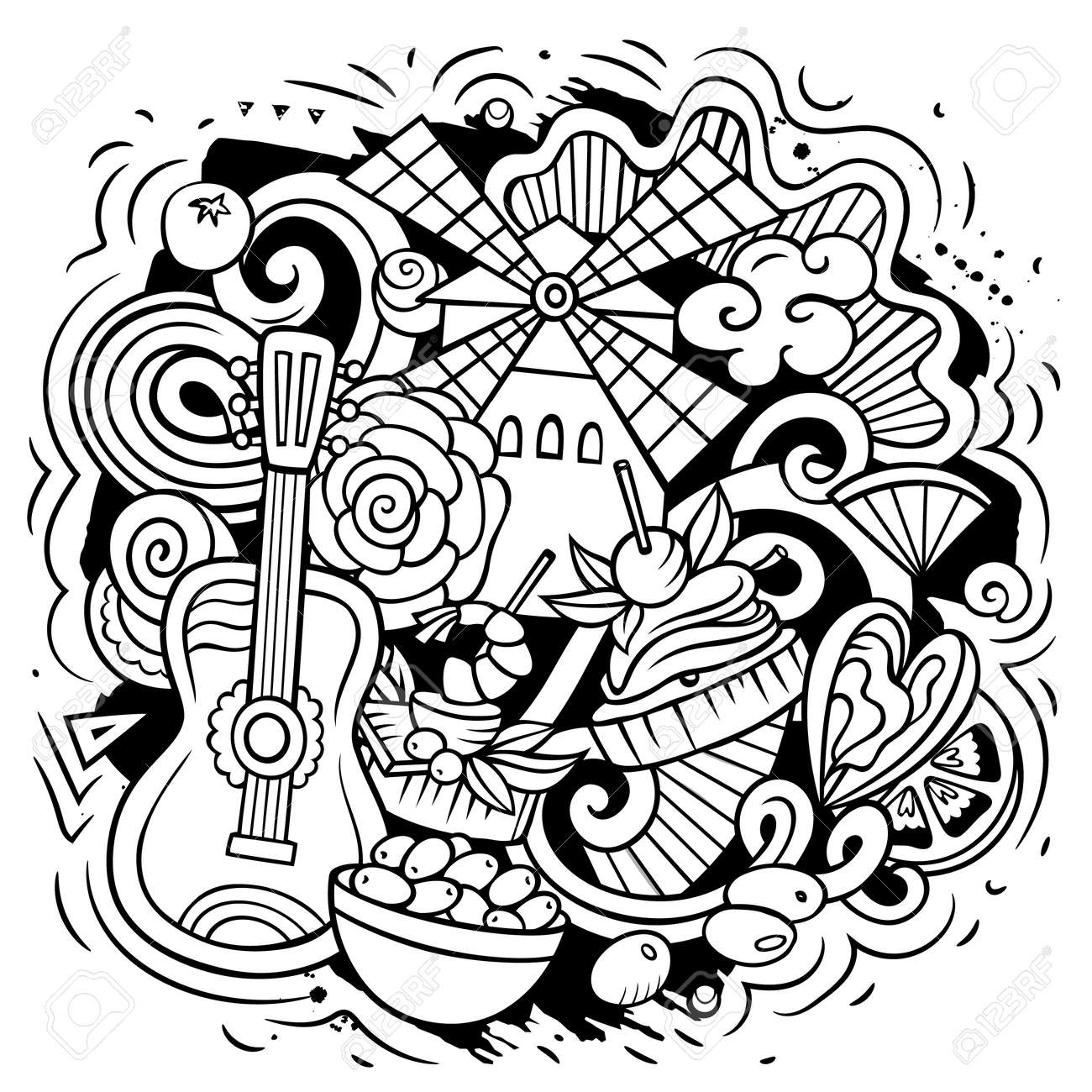 Spain hand drawn cartoon doodle illustration. Funny Spanish elements and objects design. Creative art vector background - 170554950