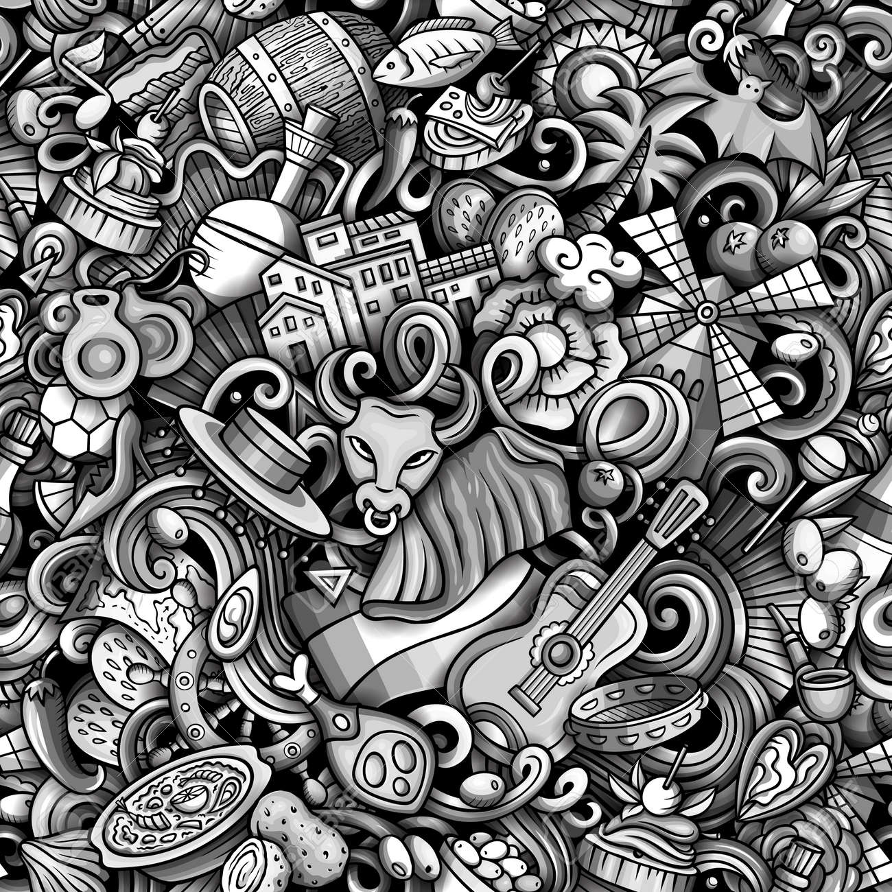 Cartoon doodles Spain seamless pattern. Backdrop with Spanish culture symbols and items. Monochrome detailed, with lots of objects background for print on fabric, textile, phone cases, wrapping paper. - 171462961