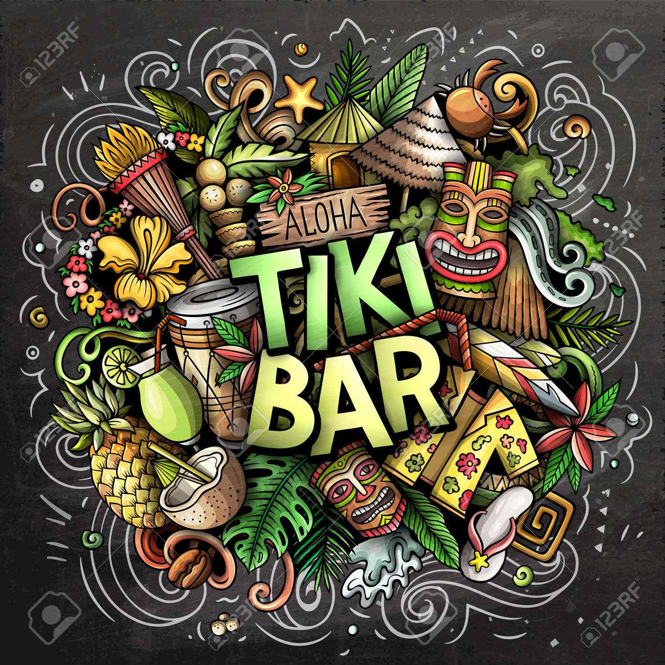 Tiki Bar hand drawn cartoon doodle illustration. Funny Hawaiian design. Creative art vector background. Handwritten text with elements and objects. Chalkboard composition - 171462969
