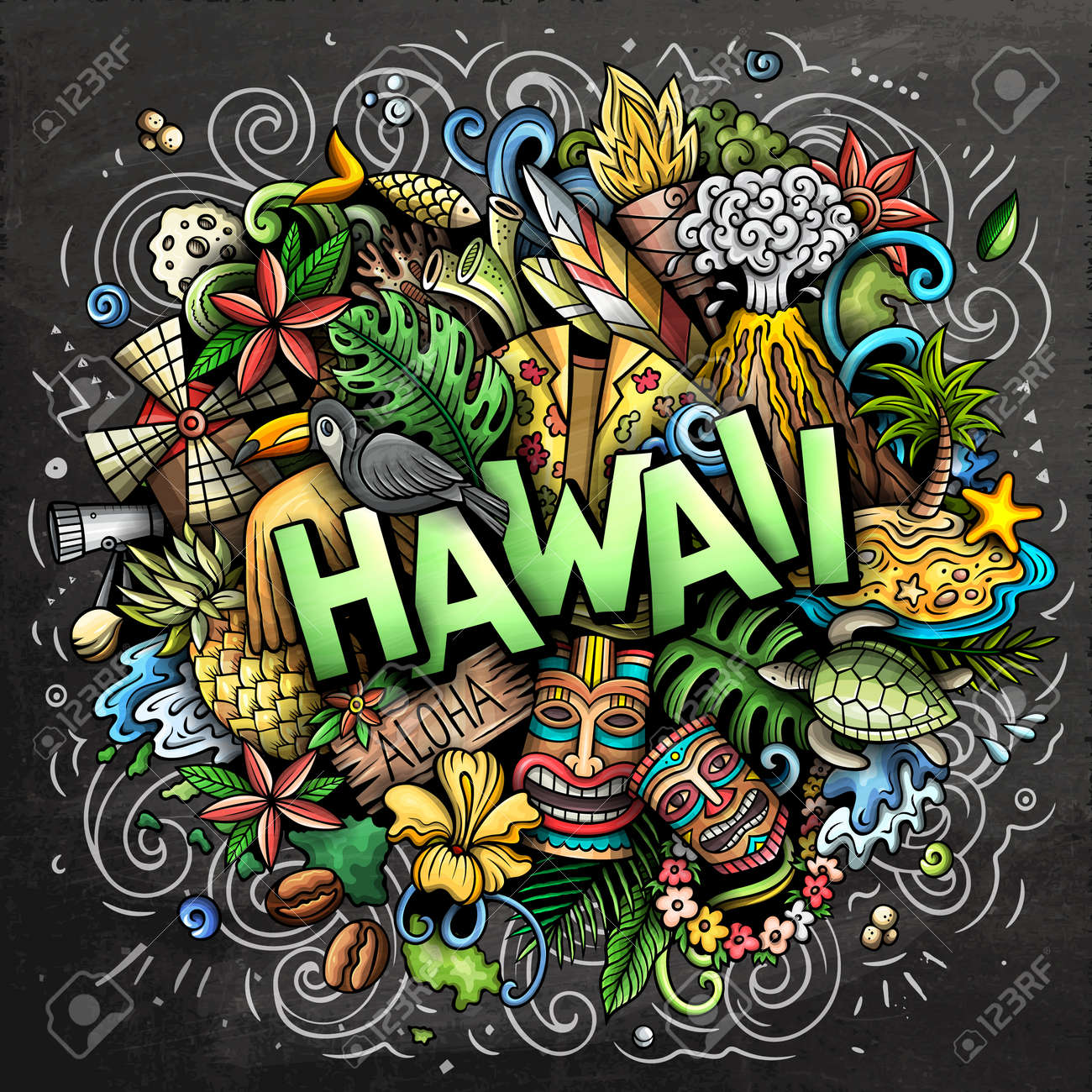 Hawaii hand drawn cartoon doodle illustration. Funny Hawaiian design. Creative art vector background. Handwritten text with elements and objects. Chalkboard composition - 171578494