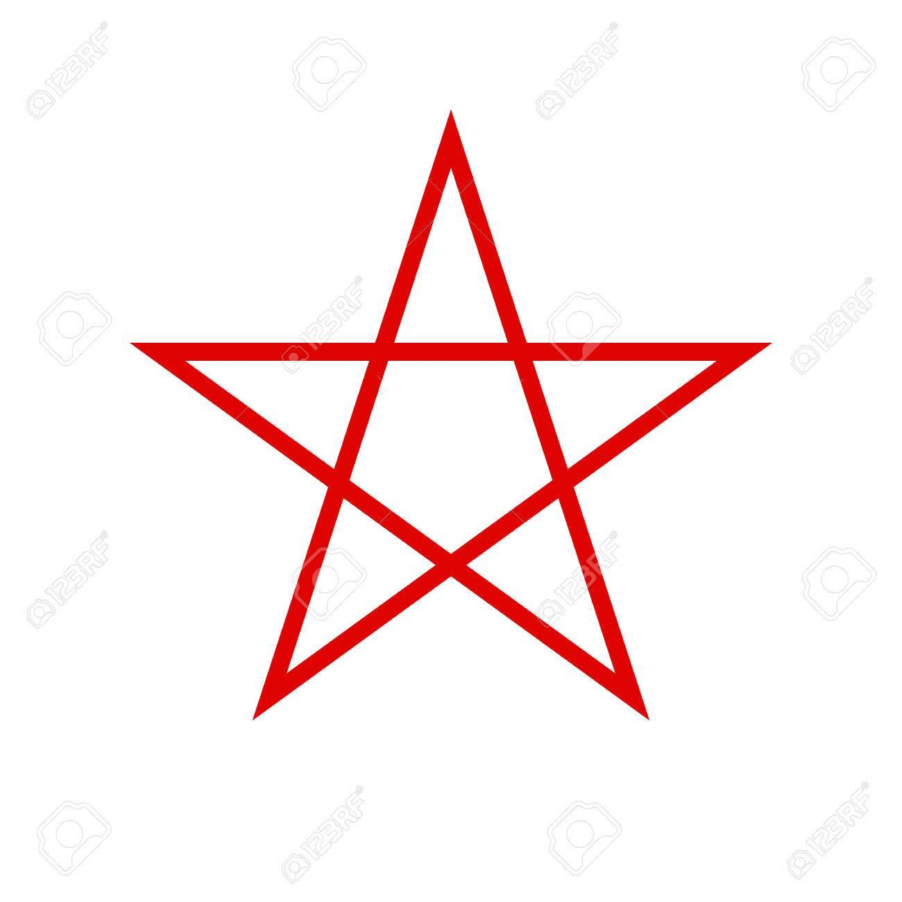 Pentagram-Symbol. Roter Fünfzackiger Stern. Vektor-Illustration ...