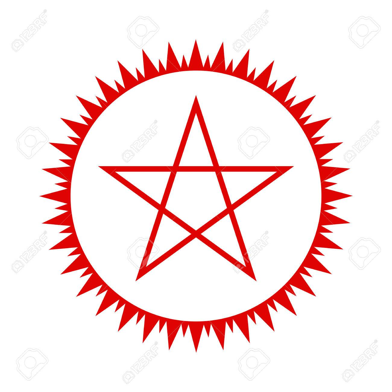 a3dff1e0e8010 Pentagram icon. Red five-pointed star in the circle of fire. Vector  illustration