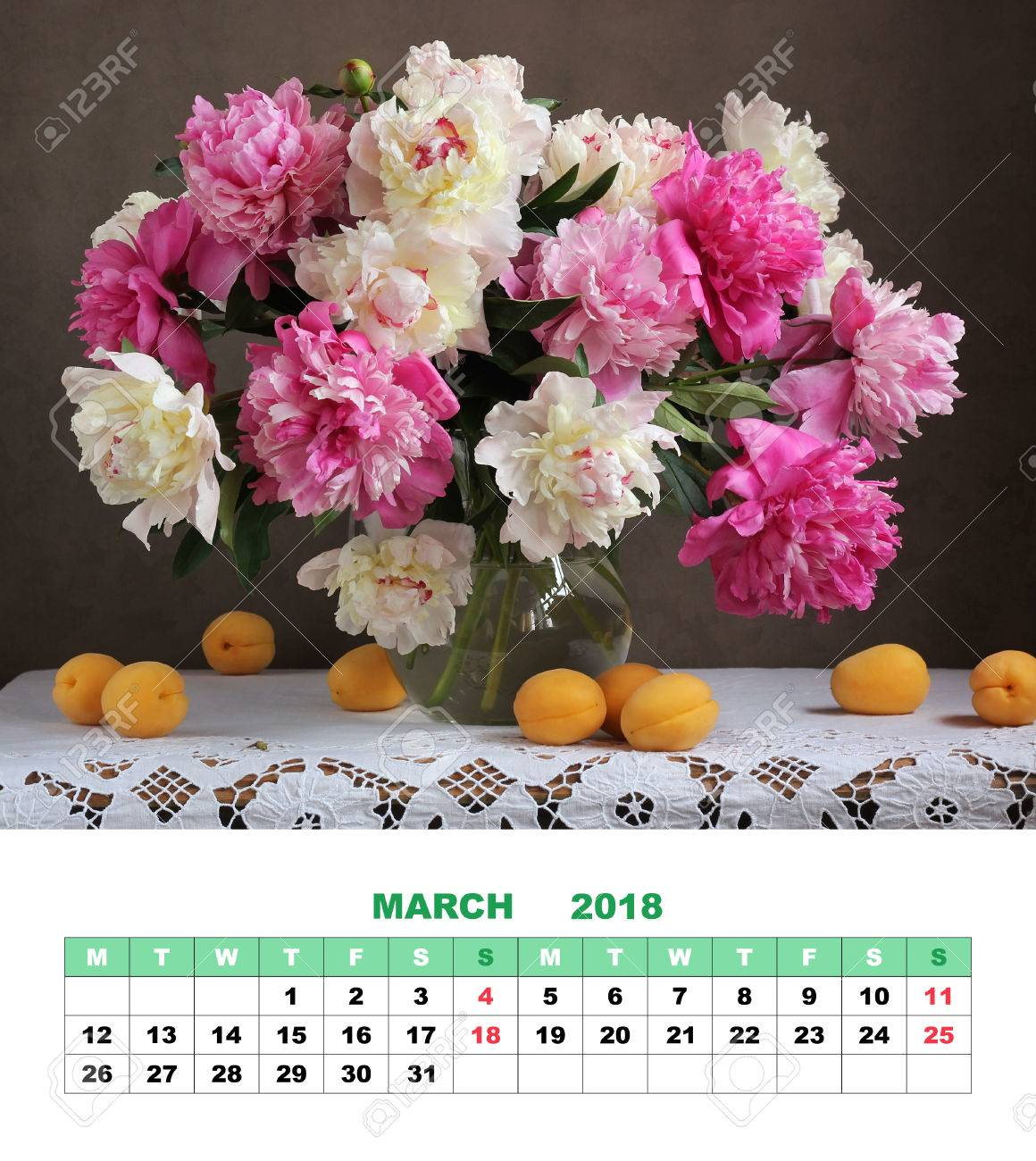 Design Page Calendar March 2018 Pink And White Peonies Flowers