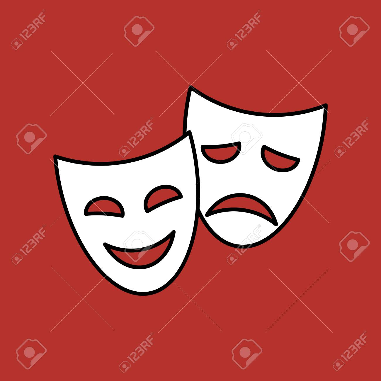 Funny and sad theater masks, vector linear icon on red background