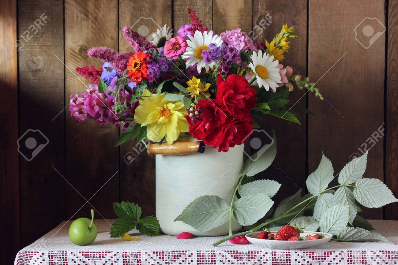 Country Still Life With Flowers And Berries Garden Bouquet Stock Photo Picture And Royalty Free Image Image 152226623