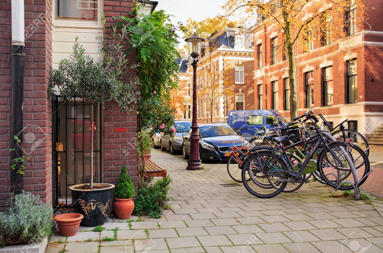 Picturesque quiet residential street near the Vondelpark. Amsterdam, The Netherlands. - 71556948