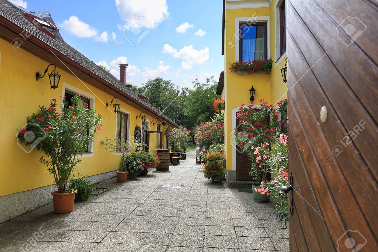 Courtyard of the heuriger house - Austrian traditional wine tavern. Market town of Perchtoldsdorf, Moedling district, Lower Austria. - 119332896