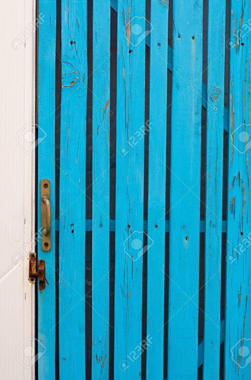 Wicket Door With A Handle Made Of Boards Turquoise Stock Photo - 66065790 & Wood Wicket Doors u0026 A Wicket Door Is A Walk-through Door Within A ... pezcame.com