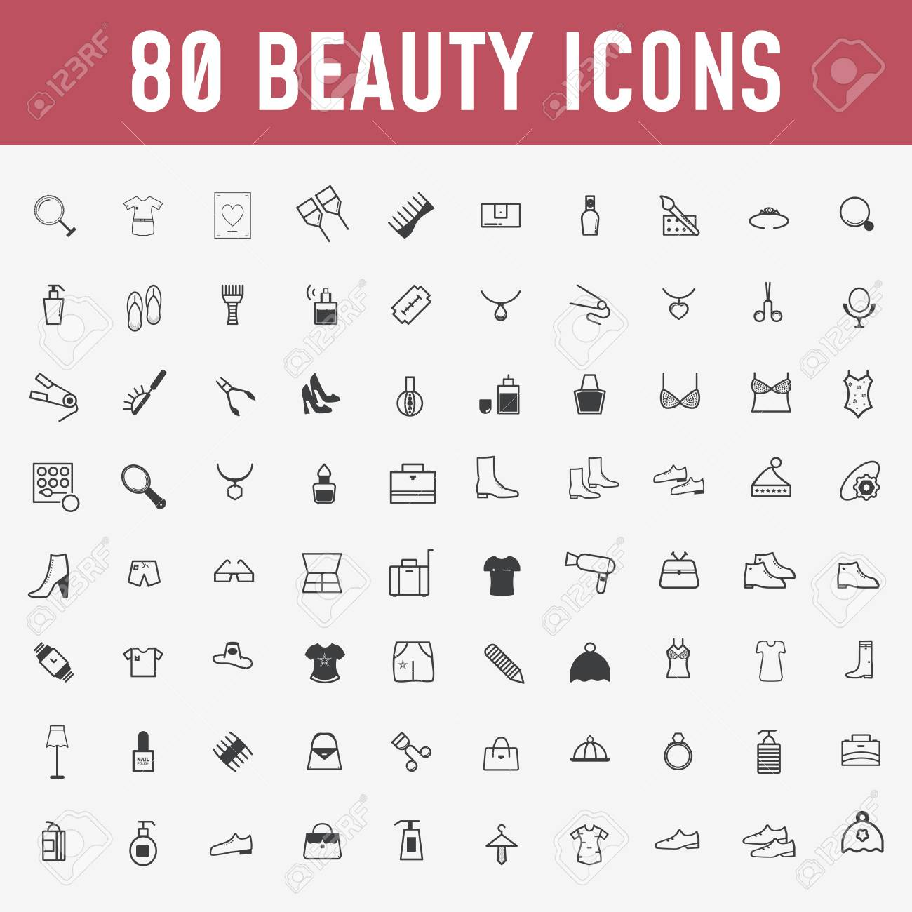 80 set of beauty icons. Makeup and cosmetics black,outline icons in set collection for design. Makeup and equipment vector symbol stock web illustration. - Vector - 125605498