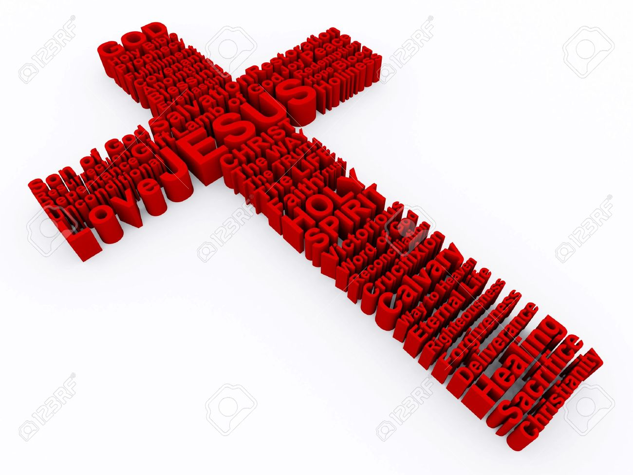 3D Cross made up of various words that describe Christianity and the Cross of Jesus Christ. - 7150682