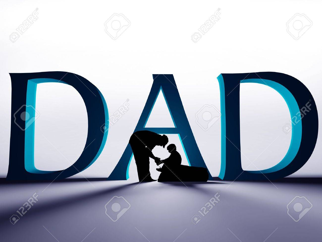 Large 3D DAD text with a silhouette of a father helping to tie the shoe of his child. - 7150681
